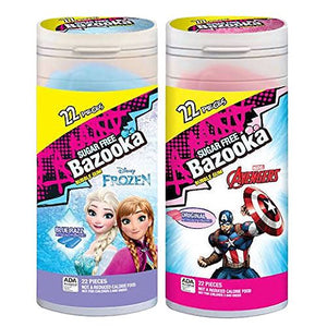 All City Candy Disney Frozen & Avengers Bazooka Sugar Free Bubble Gum - Case of 8 Gum/Bubble Gum Bazooka Candy Brands For fresh candy and great service, visit www.allcitycandy.com