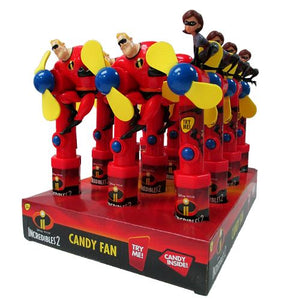 All City Candy Disney The Incredibles 2 Character Fan Candy Toy Novelty Candyrific Case of 12 For fresh candy and great service, visit www.allcitycandy.com