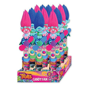 All City Candy Dreamworks Trolls Character Fan Candy Toy Novelty Candyrific Case of 12 For fresh candy and great service, visit www.allcitycandy.com
