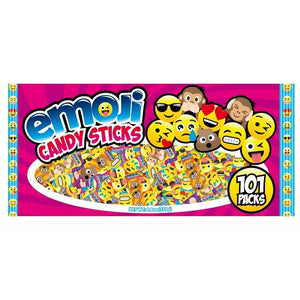 All City Candy Emoji Candy Sticks Mini Boxes - Bag of 101 Novelty World Confections Inc. For fresh candy and great service, visit www.allcitycandy.com