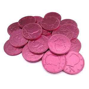 All City Candy Fort Knox Fuchsia Pink Milk Chocolate Coins - 1 LB Mesh Bag Chocolate Gerrit J. Verburg Candy Default Title For fresh candy and great service, visit www.allcitycandy.com