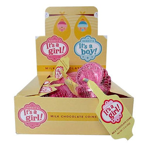 All City Candy Fort Knox Pink It's A Girl Milk Chocolate Coins - 1.5-oz. Mesh Bag Chocolate Gerrit J. Verburg Candy Case of 18 For fresh candy and great service, visit www.allcitycandy.com