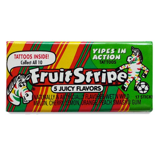 Fruit Stripe 5-Flavor Gum 17-Stick Pack For fresh candy and great service, visit us at www.allcitycandy.com