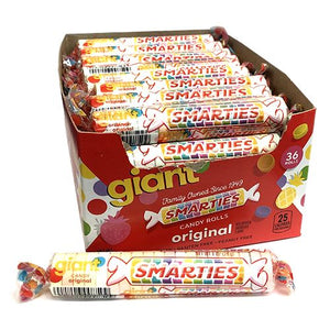 All City Candy Giant Smarties Candy Roll 1 oz. - Case of 34 Smarties Candy Company For fresh candy and great service, visit www.allcitycandy.com