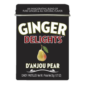 All City Candy Ginger Delights D'Anjou Pear Hard Candy - 1.07-oz. Tin Hard Big Sky Brands 1 Tin For fresh candy and great service, visit www.allcitycandy.com