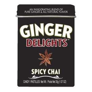All City Candy Ginger Delights Spicy Chai Hard Candy - 1.07-oz. Tin Hard Big Sky Brands 1 Tin For fresh candy and great service, visit www.allcitycandy.com