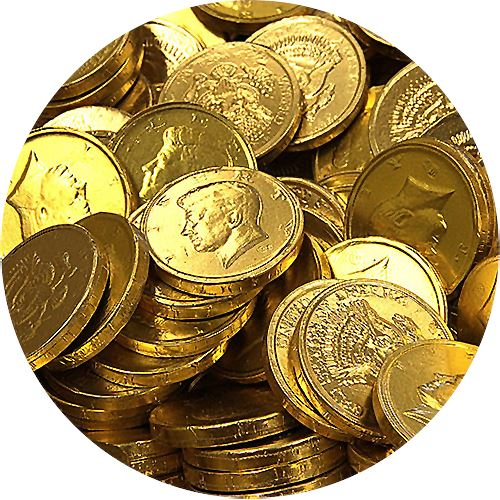 50 Pieces Gold Foil Wrapped Chocolate Kennedy Half Dollar ...