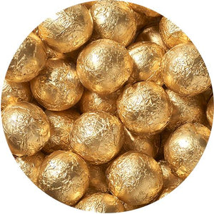 All City Candy Gold Foiled Solid Milk Chocolate Balls - 2 LB Bulk Bag Bulk Wrapped SweetWorks Default Title For fresh candy and great service, visit www.allcitycandy.com