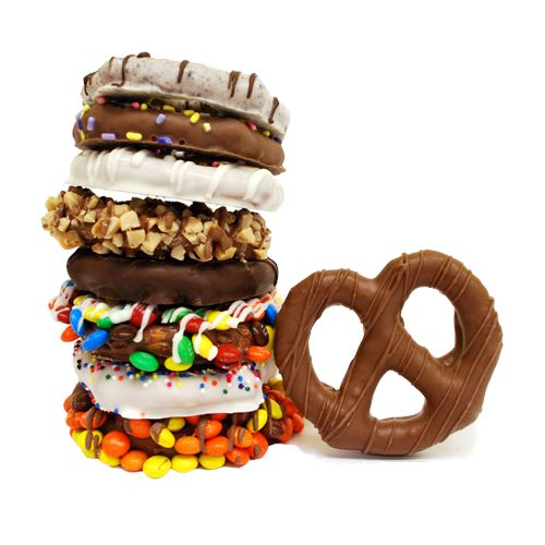 Gourmet Chocolate Dipped Pretzel Twists - 18-Piece Bucket For fresh candy and great service, visit us at www.allcitycandy.com