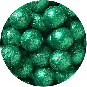 All City Candy Green Foiled Solid Milk Chocolate Balls - 2 LB Bulk Bag Bulk Wrapped SweetWorks Default Title For fresh candy and great service, visit www.allcitycandy.com