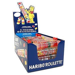 All City Candy Haribo Roulette Gummi Candy 7/8-oz. Roll - Case of 36 Gummi Haribo Candy For fresh candy and great service, visit www.allcitycandy.com