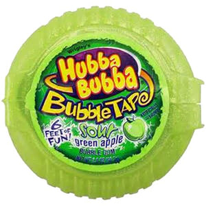 All City Candy Hubba Bubba Sour Green Apple Bubble Tape Bubble Gum - 6 Foot Roll Gum/Bubble Gum Wrigley 1 Roll For fresh candy and great service, visit www.allcitycandy.com