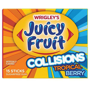 All City Candy Juicy Fruit Collisions Tropical Berry Sugar Free Gum - 15 Stick Pack Gum/Bubble Gum Wrigley For fresh candy and great service, visit www.allcitycandy.com