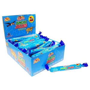 All City Candy Jungle Jollies Blue Raspberry Chewy Candy - 48 Piece Box Chewy Albert's Candy Default Title For fresh candy and great service, visit www.allcitycandy.com