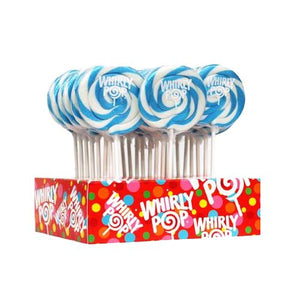 "All City Candy Light Blue & White Blueberry Whirly Pop 1.5 oz., 3"" Lollipops & Suckers Adams & Brooks Case of 24 For fresh candy and great service, visit www.allcitycandy.com"