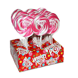 "All City Candy Light Pink & White Bubble Gum Whirly Pop 1.5 oz., 3"" Lollipops & Suckers Adams & Brooks Case of 24 For fresh candy and great service, visit www.allcitycandy.com"