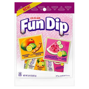 All City Candy Lik-m-aid Fun Dip Mango Lime & Cucumber Watermelon - 3.01-oz. Bag Powdered Candy Nestle For fresh candy and great service, visit www.allcitycandy.com