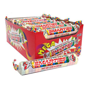 All City Candy Mega Smarties Candy Roll 2.25 oz. Smarties Candy Company Case of 24 For fresh candy and great service, visit www.allcitycandy.com