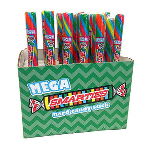 All City Candy Mega Smarties Hard Candy Sticks 3.5 oz. Christmas Spangler Case of 24 For fresh candy and great service, visit www.allcitycandy.com