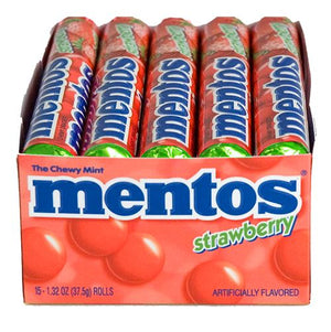 All City Candy Mentos Strawberry Chewy Mints - 1.32-oz. Roll Mints Perfetti Van Melle Case of 15 For fresh candy and great service, visit www.allcitycandy.com