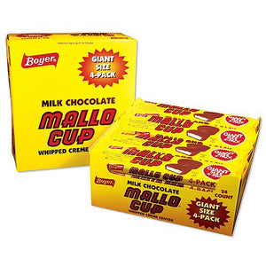 All City Candy Milk Chocolate Mallo Cup Giant Size 4-Pack Candy Bars Boyer Candy Company Case of 24 For fresh candy and great service, visit www.allcitycandy.com