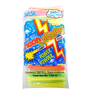 All City Candy Mini Neon Laser Powder Straws - 240 Piece Bag Powdered Candy Albert's Candy For fresh candy and great service, visit www.allcitycandy.com