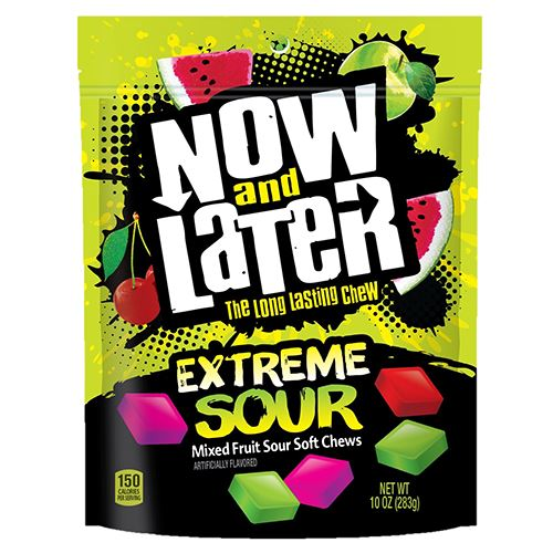 Now and Later Extreme Sour Soft Fruit Chews - 10-oz  Bag