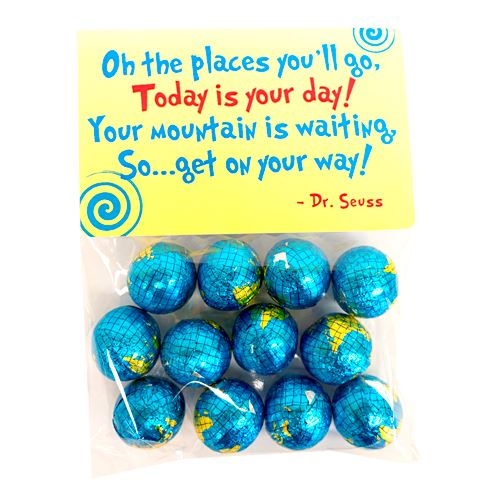 """Oh, the Places You'll Go!"" Foiled Chocolate Globes - 12 Piece Bag For fresh candy and great service, visit us at www.allcitycandy.com"