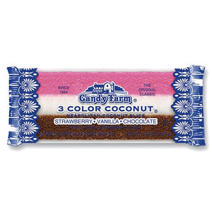 All City Candy Old Fashioned Neapolitan Coconut Slice 2.25 oz. - 24 Piece Case Dayton Nut Specialties For fresh candy and great service, visit www.allcitycandy.com
