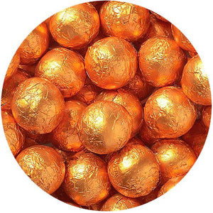 All City Candy Orange Foiled Solid Milk Chocolate Balls - 2 LB Bulk Bag Bulk Wrapped SweetWorks Default Title For fresh candy and great service, visit www.allcitycandy.com
