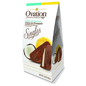 All City Candy Ovation Break-a-Parts Creme de Coconut & Creme de Pineapple Filled Milk Chocolate Singles - 5.5-oz. Carton Chocolate SweetWorks For fresh candy and great service, visit www.allcitycandy.com