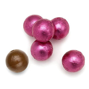 All City Candy Palmer Bright Pink Foiled Caramel Filled Chocolate Balls - 3 LB Bulk Bag Bulk Wrapped R.M. Palmer Company For fresh candy and great service, visit www.allcitycandy.com