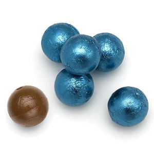 All City Candy Palmer Caribbean Blue Foiled Caramel Filled Chocolate Balls - 3 LB Bulk Bag Bulk Wrapped R.M. Palmer Company For fresh candy and great service, visit www.allcitycandy.com