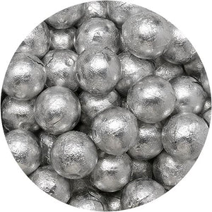 All City Candy Palmer Silver Foiled Caramel Filled Chocolate Balls - 3 LB Bulk Bag Bulk Wrapped R.M. Palmer Company For fresh candy and great service, visit www.allcitycandy.com
