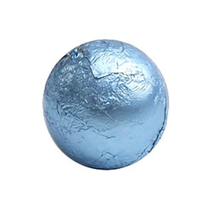 All City Candy Pastel Blue Foiled Solid Milk Chocolate Balls - 2 LB Bulk Bag Bulk Wrapped SweetWorks For fresh candy and great service, visit www.allcitycandy.com