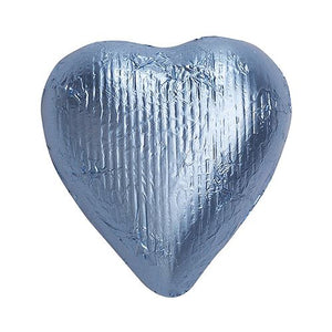 All City Candy Pastel Blue Foiled Solid Milk Chocolate Hearts - 2 LB Bulk Bag Bulk Wrapped SweetWorks For fresh candy and great service, visit www.allcitycandy.com