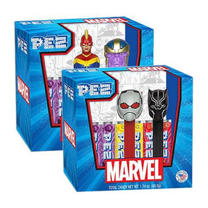 All City Candy PEZ Marvel Candy Dispenser Twin Pack Gift Set Novelty PEZ Candy For fresh candy and great service, visit www.allcitycandy.com