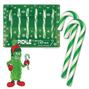 All City Candy Pickle Candy Canes - Box of 6 Christmas Archie McPhee For fresh candy and great service, visit www.allcitycandy.com