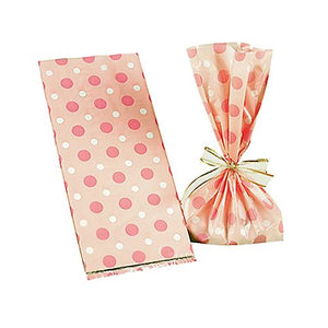 All City Candy Pink Polka Dot Cellophane Treat Bags - Pack of 12 Candy Buffet Supplies Fun Express For fresh candy and great service, visit www.allcitycandy.com