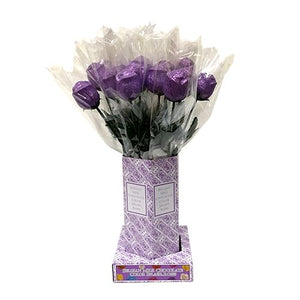 All City Candy Purple Foiled Belgian Chocolate Color Splash Roses Chocolate Albert's Candy Case of 20 For fresh candy and great service, visit www.allcitycandy.com