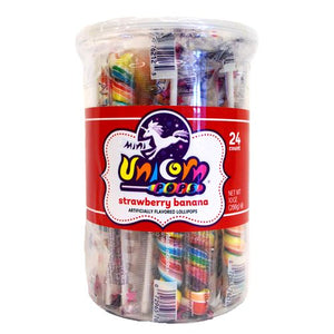 All City Candy Rainbow Strawberry Banana Mini Unicorn Pop - Tub of 24 Lollipops & Suckers Adams & Brooks For fresh candy and great service, visit www.allcitycandy.com