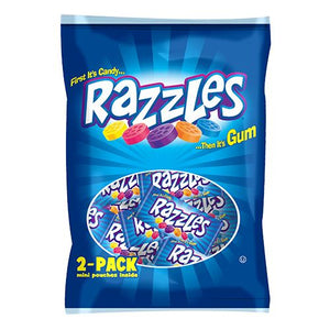 All City Candy Razzles Candy Gum/Bubble Gum Concord Confections (Tootsie) 1.7-oz. Bag of Mini Pouches For fresh candy and great service, visit www.allcitycandy.com