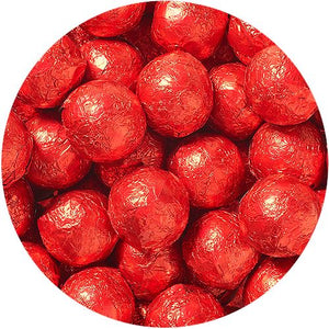 All City Candy Red Foiled Solid Milk Chocolate Balls - 2 LB Bulk Bag Bulk Wrapped SweetWorks Default Title For fresh candy and great service, visit www.allcitycandy.com