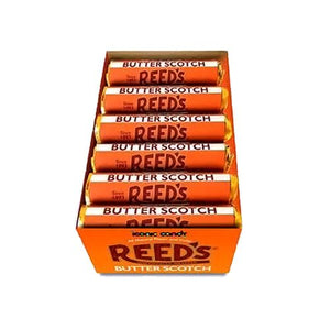 All City Candy Reeds Butterscotch Hard Candy - 1.01-oz. Roll Hard Iconic Candy Case of 24 For fresh candy and great service, visit www.allcitycandy.com