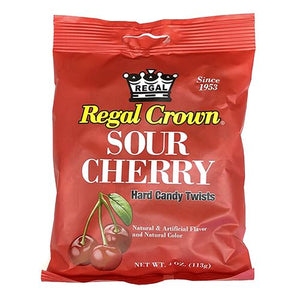 All City Candy Regal Crown Sour Cherry Hard Candy Twists - 4-oz. Bag Hard Iconic Candy For fresh candy and great service, visit www.allcitycandy.com