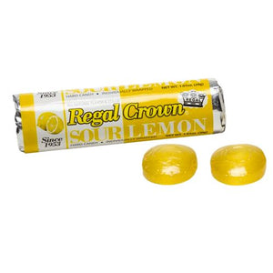 All City Candy Regal Crown Sour Lemon Hard Candy - 1.01-oz. Roll Hard Iconic Candy 1 Roll For fresh candy and great service, visit www.allcitycandy.com