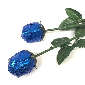 All City Candy Royal Blue Foiled Belgian Chocolate Color Splash Roses Chocolate Albert's Candy 1 Piece For fresh candy and great service, visit www.allcitycandy.com