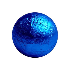 All City Candy Royal Blue Foiled Solid Milk Chocolate Balls - 2 LB Bulk Bag Bulk Wrapped SweetWorks For fresh candy and great service, visit www.allcitycandy.com