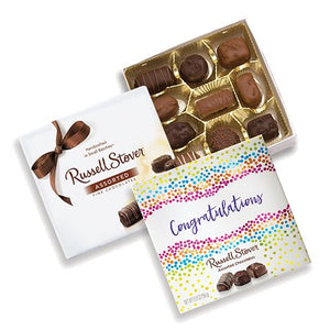 All City Candy Russell Stover Assorted Chocolates Congratulations Gift Box 5.5 oz. Chocolate Russell Stover For fresh candy and great service, visit www.allcitycandy.com