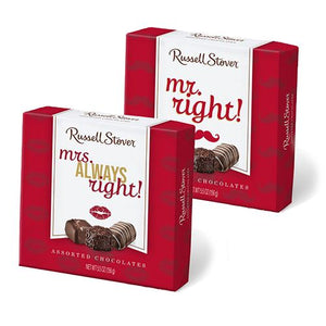 All City Candy Russell Stover Mr. and Mrs. Right Assorted Chocolates Gift Box 5.5 oz. Valentine's Day Russell Stover For fresh candy and great service, visit www.allcitycandy.com
